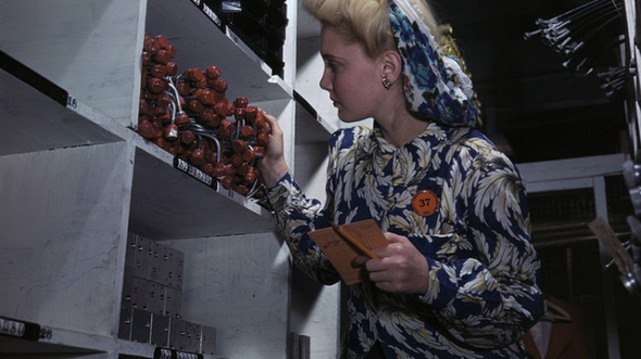 One of Alfred Palmer's pictures of women working during World War II
